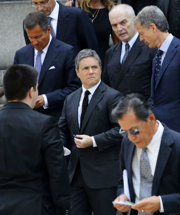HBO CEO Richard Plepler, left, Paramount CEO Brad Grey, center, and &#39;Soprano&#39;s creator David Chase, top second from right, leave the Cathedral Church of Saint John the Divine after the funeral service for James Gandolfini in New York on June 27, 2013. Gandolfini, who played Tony Soprano in the HBO show &#39;The Sopranos,&#39; died at age 51 while vacationing in Italy.  <span class=meta>(AP Photo &#47; Mary Altaffer)</span>