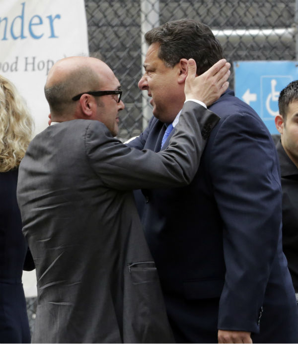Actors John Ventimiglia, left, and Steve Schirripa arrive for the funeral service of James Gandolfini in New York on June 27, 2013. Gandolfini, who played Tony Soprano in the HBO show &#39;The Sopranos,&#39; died at age 51 while vacationing in Italy. Ventimiglia played Artie Bucco and Schirippa portrayed Bobby &#39;Bacala&#39; Baccalieri in the series. <span class=meta>(AP Photo &#47; Richard Drew)</span>