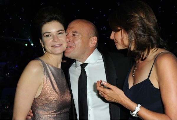 From left, 'Breaking Bad' star Betsy Brandt (Marie), co-star Dean Norris (Hank) and a guest are see