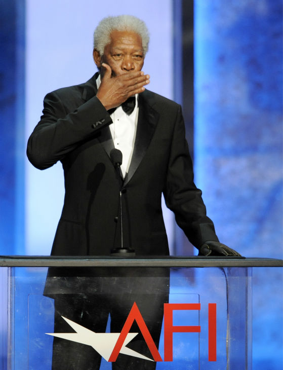 Morgan Freeman blows a kiss to honoree Mel Brooks during the American Film Institute&#39;s 41st Lifetime Achievement Award Gala at the Dolby Theatre in Los Angeles on Thursday, June 6, 2013. <span class=meta>(Chris Pizzello &#47; Invision &#47; AP)</span>