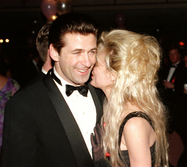 Alec Baldwin, left, is shown with his wife, actress Kim Basinger, during the Tony Supper Ball following the 46th Annual Tony Awards ceremony in New York City on May 31, 1992.