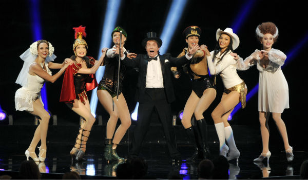 Martin Short, center, and dancers perform a musical tribute to director Mel Brooks&#39; films during the American Film Institute&#39;s 41st Lifetime Achievement Award Gala, honoring Brooks, at the Dolby Theatre in Los Angeles on Thursday, June 6, 2013. <span class=meta>(Chris Pizzello &#47; Invision &#47; AP)</span>