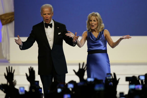 Vice President Joe Biden and Jill Biden react to...