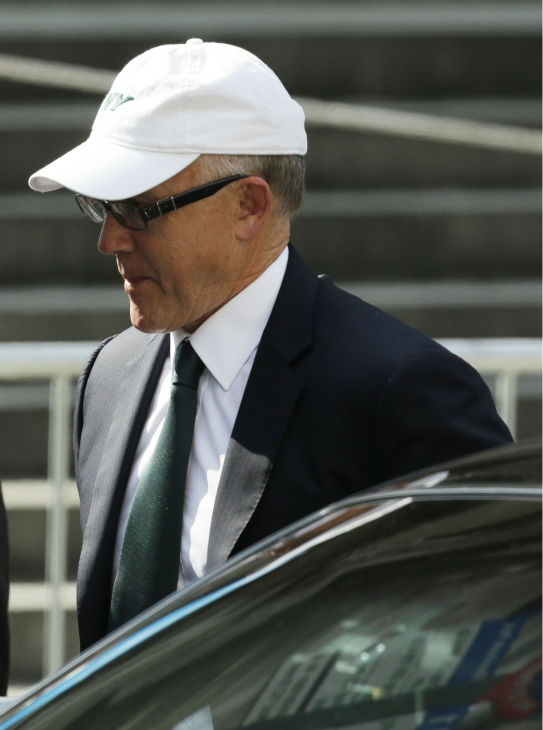 New York Jets owner Woody Johnson arrives at Cathedral Church of Saint John the Divine for the funeral service of James Gandolfini in New York on June 27, 2013. Gandolfini, who played Tony Soprano in the HBO show &#39;The Sopranos,&#39; died at age 51 while vacationing in Italy. <span class=meta>(AP Photo &#47; Julio Cortez)</span>