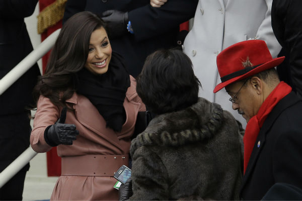 "<div class=""meta ""><span class=""caption-text "">Eva Longoria attends the ceremonial swearing-in of President Barack Obama at the U.S. Capitol during the 57th Presidential Inauguration in Washington on Jan. 21, 2013. (AP Photo / Carolyn Kaster)</span></div>"