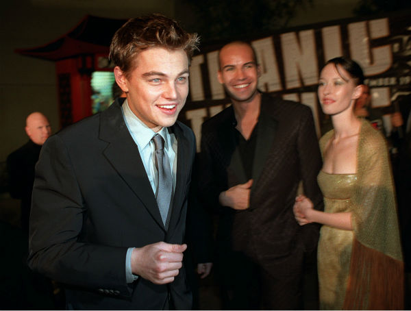 Billy Zane and Jessica Murphy photobomb Leonardo DiCaprio at the premiere of 'Titanic' on Dec. 14, 1997, at the Mann's Chinese Theatre in the Hollywood section of Los Angeles.