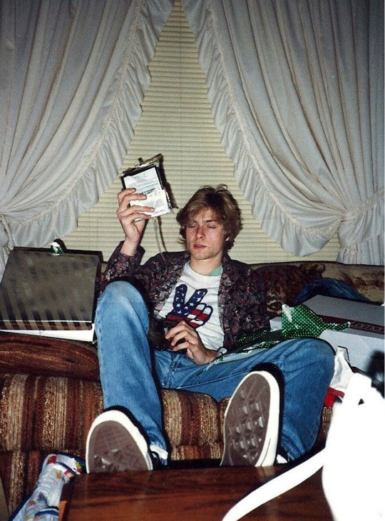 This undated photo provided by Kim Cobain shows a young Kurt Cobain in his childhood home in Aberdeen, Washington.
