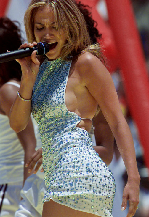 Jennifer Lopez performs before the start of the United States versus China Women's World Cup Final at the Rose Bowl in Pasadena, California on Saturday, July 10, 1999.