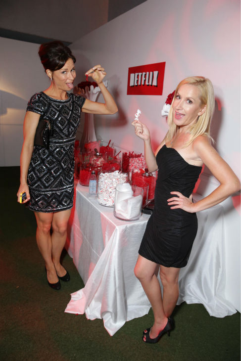 Mary Lynn Rajskub, formerly of &#39;24,&#39; and Angela Kinsey, formerly of &#39;The Office,&#39; hang out at an Emmy Awards 2013 post-show party, hosted by Netflix, in Los Angeles on Sept. 22, 2013. <span class=meta>(Eric Charbonneau &#47; Invision for Netflix &#47; AP Images)</span>