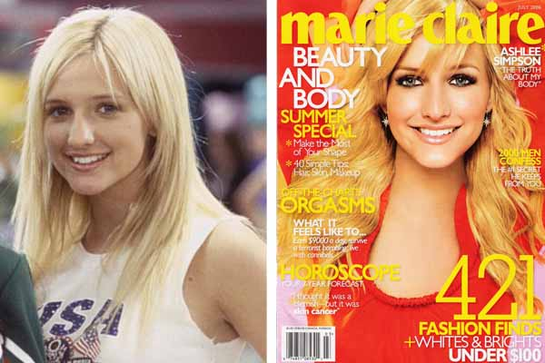 Ashlee Simpson underwent Rhinoplasty in May 2006. Pictured: To the left, Ashlee Simpson appears in a scene from &#39;The Hot Chick&#39; in 2002.  At right, she appears on the cover of Marie Claire magazine in 2008. <span class=meta>(Touchstone Pictures