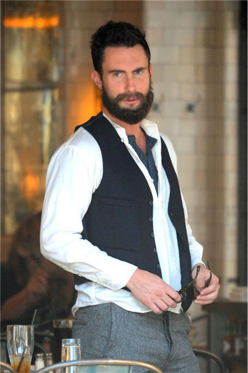 "<div class=""meta ""><span class=""caption-text "">The 'Brian-Wilson' stare: Adam Levine appears on the set of the movie 'Can a Song Save Your Life?' in New York on July 3, 2012. (Ben King / Startraksphoto.com)</span></div>"