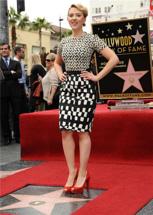 Scarlett Johansson stands on her new star on the Hollywood Walk of Fame in Hollywood, California on May 2, 2012. <span class=meta>(Sara De Boer &#47; Startraksphoto.com)</span>