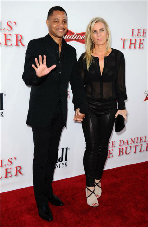 Cuba Gooding Jr. (plays Carter Wilson) and wife Sara Kapfer attend the premiere of 'The Butler' in Los Angeles on Aug. 12, 2013.