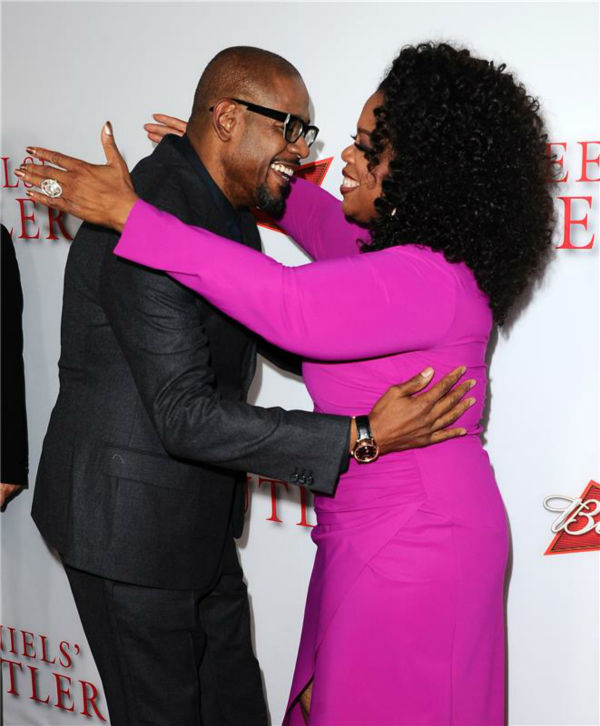 Forest Whitake and Oprah Winfrey (they play main character Cecil Gaines and wife Gloria Gaines) attend the premiere of 'The Butler' in Los Angeles on Aug. 12, 2013. She does not appear in the film.