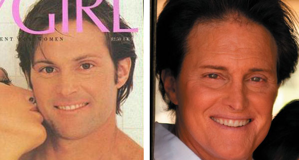 Pictured: To the left, Bruce Jenner appears on the cover of Playgirl magazine in 1982.  At right, Bruce Jenner appears on the cover of Life & Style magazine.