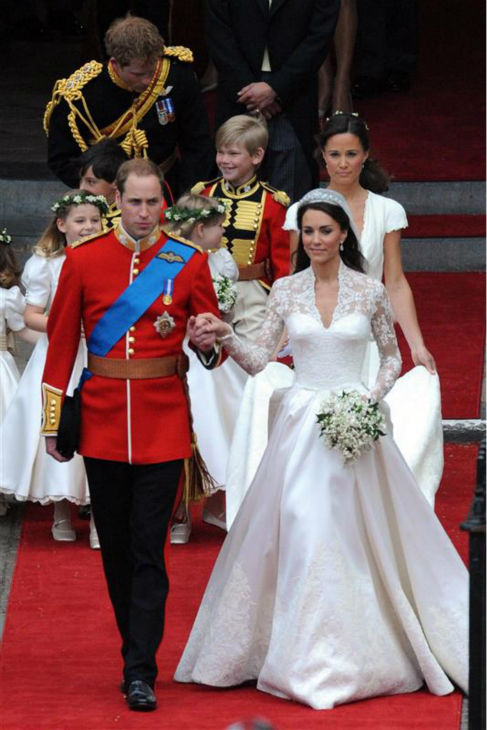 "<div class=""meta ""><span class=""caption-text "">Pippa Middleton holds her sister Kate Middleton's train at her Royal Wedding to Prince William at Westminster Abbey in London on April 29, 2011. Pippa became famous due to her a cowl-neck, body-hugging, ivory bridesmaid gown by Sarah Burton at Alexander McQueen. (AMH / Startraksphoto.com)</span></div>"