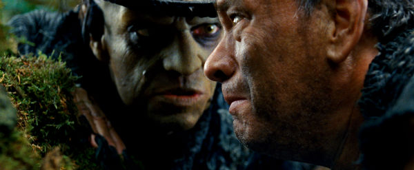Hugo Weaving appears as Old Georgie and Tom Hanks as Zachry in a scene from the 2012 movie &#39;Cloud Atlas.&#39; Zachry is a tribesman living a primitive life in Hawaii in a post-apocalyptic distant future. Halle Berry &#40;not pictured&#41;, plays Meronym, a woman who is one of the few surviving members of a technologically-advanced civilization. <span class=meta>(Reiner Bajo &#47; Warner Bros. Pictures)</span>