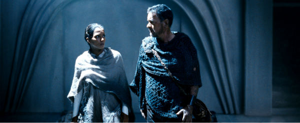 Tom Hanks appears as Zachry in a scene from the 2012 movie &#39;Cloud Atlas.&#39; Zachry is a tribesman living a primitive life in Hawaii in a post-apocalyptic distant future. Halle Berry appears as Meronym, a woman who is one of the few surviving members of a technologically-advanced civilization. <span class=meta>(Reiner Bajo &#47; Warner Bros. Pictures)</span>