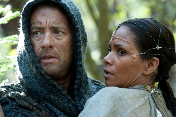 Tom Hanks appears as Zachry and Halle Berry appears as Meronym in a scene from the 2012 movie 'Cloud Atlas.'
