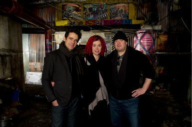 Directors Tom Tykwer, Lana Wachowski and Andy Wachowski appear on the set of the 2012 movie 'Cloud Atlas.'