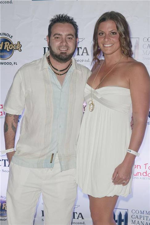 Chris Kirkpatrick and Karly Skladany appear at the Seminole Hard Rock Hotel and Casino in Hollywood, Florida on Feb. 24, 2013.