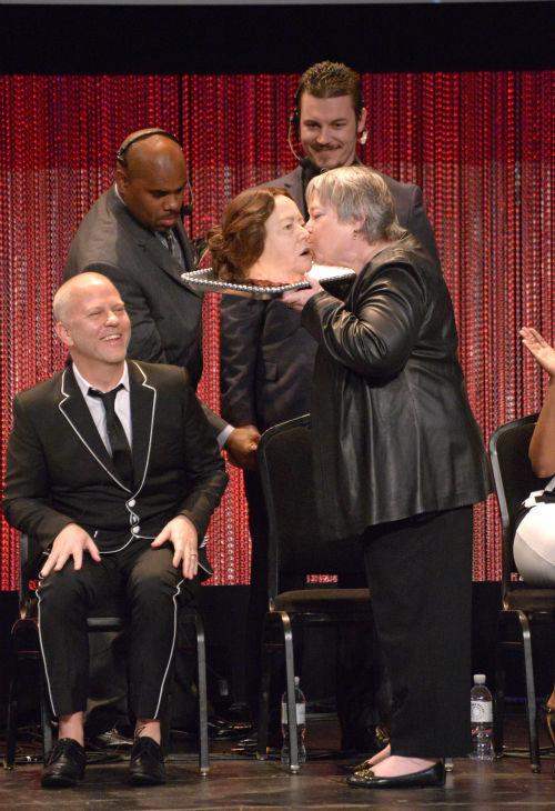 Kathy Bates kisses a prop in her likeness, as seen in an episode of the FX series &#39;American Horror Story: Coven,&#39; at a PaleyFest event celebrating the show, presented by the Paley Center for Media, at the Dolby Theatre in Hollywood, California on March 28, 2014. <span class=meta>(Rob Latour for Paley Center for Media)</span>