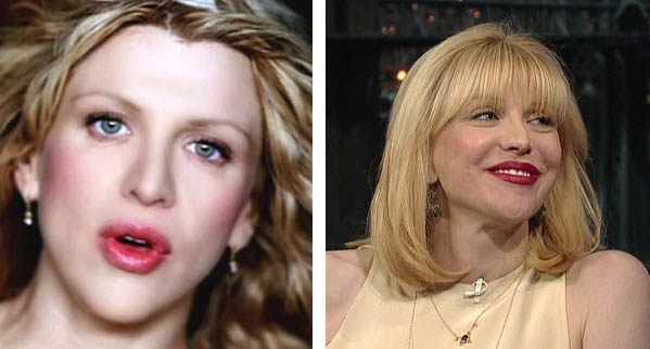 Pictured: To the left, Courtney Love appears in the music video for the song 'Malibu' in 1998.  At right, Courtney Love appears on 'The David Letterman Show' in 2010.