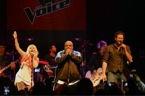 'The Voice' coaches Christina Aguilera, Cee Lo Green and Blake Shelton perform at the NBC show's special concert to celebrate the announcement of the top 12, held at the House of Blues in Los Angeles on Nov. 8, 2012.