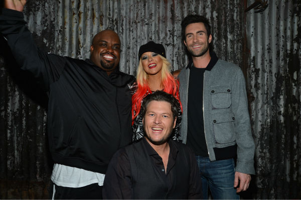 Clockwise from top left: 'The Voice' coaches Cee Lo Green, Christina Aguilera, Adam Levine and Blake Shelton appear at the House of Blues in Los Angeles on Nov. 8, 2012 for the NBC show's special concert to celebrate the announcement of the top 12.