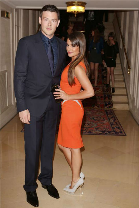 Cory Monteth and Lea Michele attend the Versace show during Haute-Couture Fall-Winters 2012-2013 Paris Fashion Week on July 1, 2012.