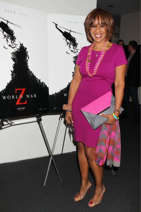 TV personality Gayle King appears at a special tastemaker screening of the studio's new film 'World War Z,' starring co-host Brad Pitt, at The Museum of Modern Art in New York on Wednesday, May 22, 2013.