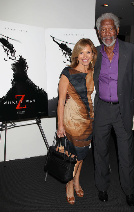 TV host Katie Couric and actor Morgan Freeman appear at a special tastemaker screening of the studio's new film 'World War Z,' starring co-host Brad Pitt and directed by Marc Forster, at The Museum of Modern Art in New York on Wednesday, May 22, 2013.