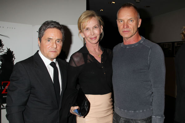 "<div class=""meta ""><span class=""caption-text "">Co-host Brad Grey, CEO of Paramount Pictures, Sting and wife Trudie Styler appear at a special tastemaker screening of the studio's new film 'World War Z,' starring co-host Brad Pitt, at The Museum of Modern Art in New York on Wednesday, May 22, 2013. (Dave Allocca / Startraks for Paramount Pictures)</span></div>"