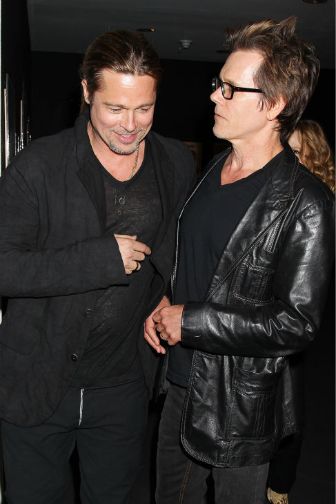 Co-host Brad Pitt and actor Kevin Bacon appear at a special tastemaker screening of Paramount Pictures' new film 'World War Z,' starring Pitt, at The Museum of Modern Art in New York on Wednesday, May 22, 2013.