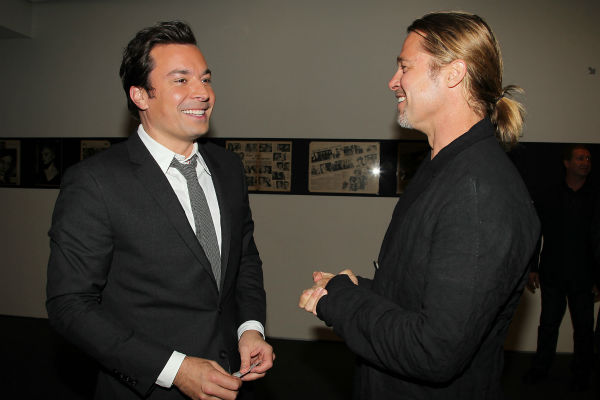 Co-host Brad Pitt and TV host Jimmy Fallon appear at a special tastemaker screening of Paramount Pictures' new film 'World War Z,' starring Pitt, at The Museum of Modern Art in New York on Wednesday, May 22, 2013.