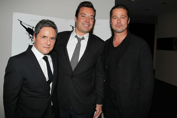 Co-hosts Brad Pitt and Brad Grey, CEO of Paramount Pictures, and TV host Jimmy Fallon appear at a special tastemaker screening of the stu