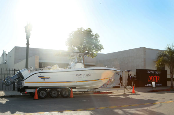 "<div class=""meta ""><span class=""caption-text "">Dexter's boat, 'Slice of Life,' is seen at Showtime's premiere of 'Dexter' season 8 in Los Angeles on June, 15, 2013. (Eric Charbonneau / Invision for Showtime)</span></div>"