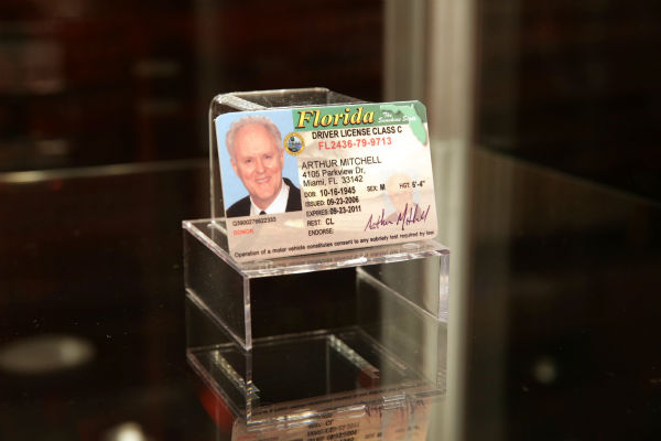 "<div class=""meta image-caption""><div class=""origin-logo origin-image ""><span></span></div><span class=""caption-text"">A prop of the driver's license of the Trinity Killer (played by John Lithgow in season 4) is seen at Showtime's premiere of 'Dexter' season 8 in Los Angeles on June, 15, 2013. (Eric Charbonneau / Invision for Showtime)</span></div>"