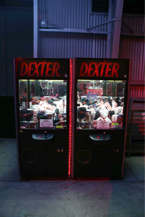 A claw machine of &#39;Dexter&#39; goodies is seen at Showtime&#39;s premiere of &#39;Dexter&#39; season 8 in Los Angeles on June, 15, 2013. <span class=meta>(Eric Charbonneau &#47; Invision for Showtime)</span>