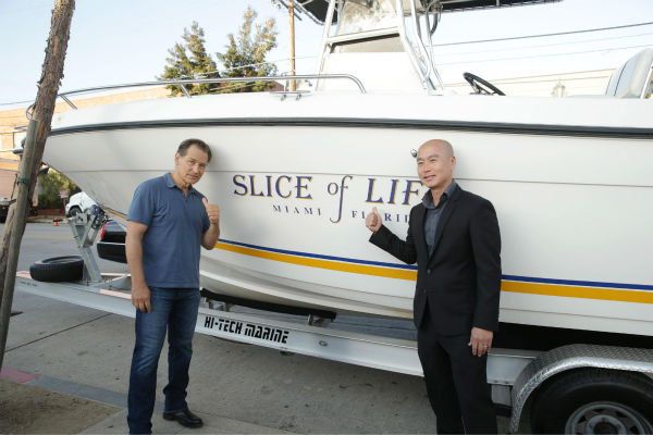 James Remar &#40;Harry, seasons 1-8&#41; and C.S. Lee &#40;Masuka, seasons 1-8&#41; pose next to Dexter&#39;s boat, &#39;Slice of Life,&#39; at Showtime&#39;s premiere of &#39;Dexter&#39; season 8 in Los Angeles on June, 15, 2013. <span class=meta>(Eric Charbonneau &#47; Invision for Showtime)</span>