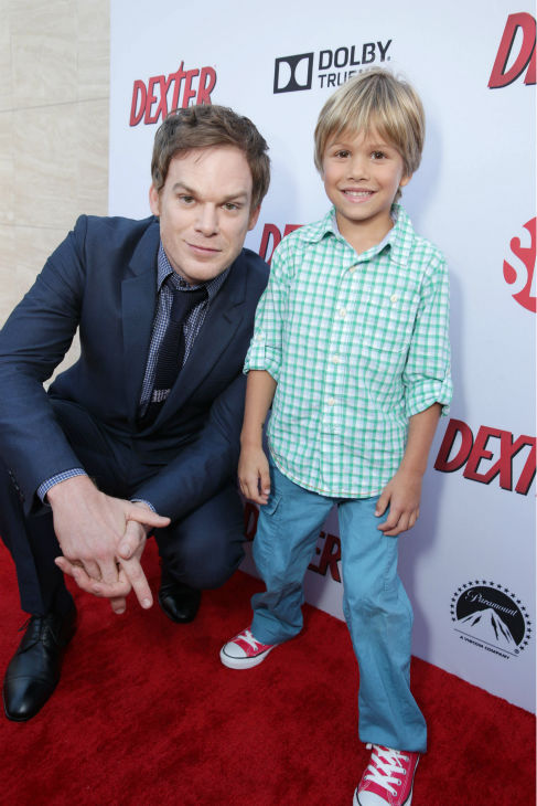 Michael C. Hall &#40;Dexter, seasons 1-8&#41; and on-screen son Jadon Wells &#40;Harrison, season 8&#41; appear at Showtime&#39;s premiere of &#39;Dexter&#39; season 8 in Los Angeles on June, 15, 2013. <span class=meta>(Eric Charbonneau &#47; Invision for Showtime)</span>