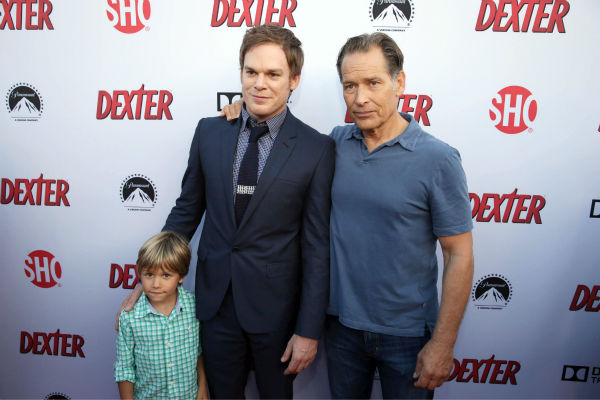 Jadon Wells &#40;Harrison, season 8&#41;, Michael C. Hall &#40;Dexter, seasons 1-8&#41; and James Remar &#40;Harry, seasons 1-8&#41; appear at Showtime&#39;s premiere of &#39;Dexter&#39; season 8 in Los Angeles on June, 15, 2013. <span class=meta>(Eric Charbonneau &#47; Invision for Showtime)</span>