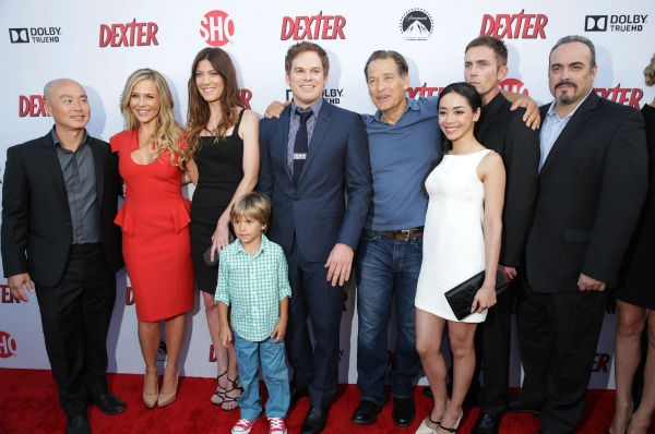 L-R: C.S. Lee &#40;Masuka&#41;, Julie Benz &#40;Rita&#41;, Jennifer Carpenter &#40;Debra&#41;, Jadon Wells &#40;Harrison&#41;, Michael C. Hall &#40;Dexter&#41;, James Remar &#40;Harry&#41;, Aimee Garcia &#40;Jamie&#41;, Desmond Harrington &#40;Quinn&#41; and David Zayas &#40;Batista&#41; appear at Showtime&#39;s premiere of &#39;Dexter&#39; season 8 in Los Angeles on June, 15, 2013. <span class=meta>(Eric Charbonneau &#47; Invision for Showtime)</span>