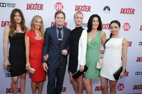 Jennifer Carpenter &#40;Debra, seasons 1-8&#41;, Julie Benz &#40;Rita, seasons 1-4&#41;, Michael C. Hall &#40;Dexter, seasons 1-8&#41;, Yvonne Strahovski &#40;Hannah, seasons 7-8&#41;, Jaime Murray &#40;Lila, season 2&#41; and Aimee Garcia &#40;Jamie, seasons 6-8&#41; appear at Showtime&#39;s premiere of &#39;Dexter&#39; season 8 in Los Angeles on June, 15, 2013. <span class=meta>(Eric Charbonneau &#47; Invision for Showtime)</span>
