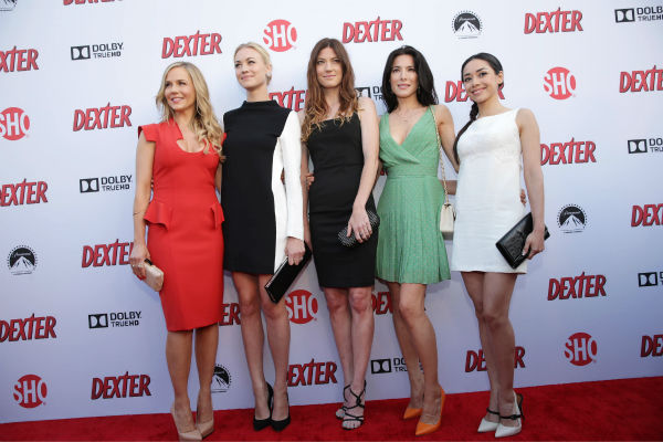 Julie Benz &#40;Rita, seasons 1-4&#41;, Yvonne Strahovski &#40;Hannah, seasons 7-8&#41;, Jennifer Carpenter &#40;Debra, seasons 1-8&#41;, Jaime Murray &#40;Lila, season 2&#41; and Aimee Garcia &#40;Jamie, seasons 6-8&#41; appear at Showtime&#39;s premiere of &#39;Dexter&#39; season 8 in Los Angeles on June, 15, 2013. <span class=meta>(Eric Charbonneau &#47; Invision for Showtime)</span>