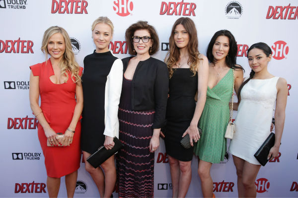 Julie Benz &#40;Rita, seasons 1-4&#41;, Yvonne Strahovski &#40;Hannah, seasons 7-8&#41;, Executive Producer Sara Colleton, Jennifer Carpenter &#40;Debra, seasons 1-8&#41;, Jaime Murray &#40;Lila, season 2&#41; and Aimee Garcia &#40;Jamie, seasons 6-8&#41; appear at Showtime&#39;s premiere of &#39;Dexter&#39; season 8 in Los Angeles on June, 15, 2013. <span class=meta>(Eric Charbonneau &#47; Invision for Showtime)</span>