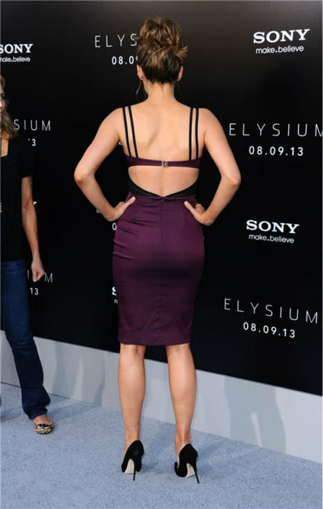 Stana Katic of ABC's 'Castle' attends the premiere of 'Elysium' in Los Angeles on Aug. 7, 2013.