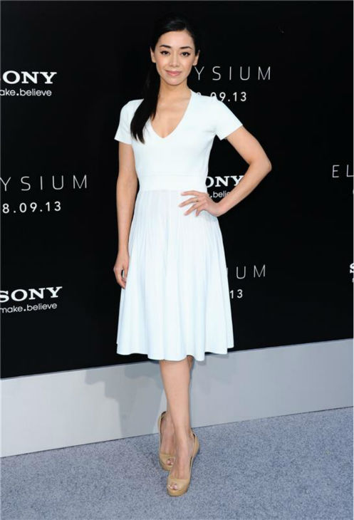 Aimee Garcia (Jamie from 'Dexter') attends the premiere of 'Elysium' in Los Angeles on Aug. 7, 2013.