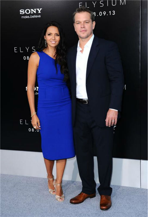 Cast member Matt Damon and wife Luciana Barroso attend the premiere of &#39;Elysium&#39; in Los Angeles on Aug. 7, 2013. <span class=meta>(Sara De Boer &#47; startraksphoto.com)</span>