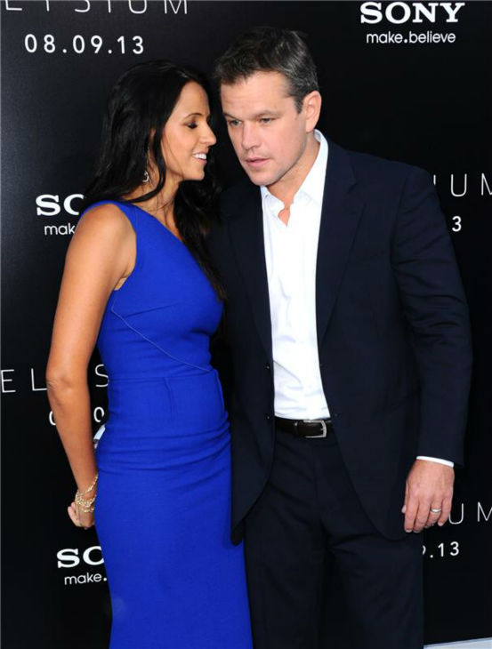 "<div class=""meta image-caption""><div class=""origin-logo origin-image ""><span></span></div><span class=""caption-text"">Cast member Matt Damon and wife Luciana Barroso attend the premiere of 'Elysium' in Los Angeles on Aug. 7, 2013. (Sara De Boer / startraksphoto.com)</span></div>"